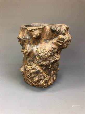 Chinese Wooden Root Carved Brushpot