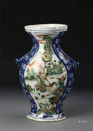 Chinese Blue and White and Wucai Vase