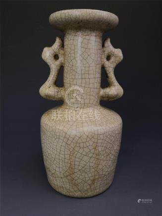China,Ge Ware, Rouleau Vase With Dragon Handles