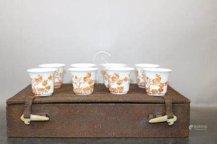 China, Copper Red Nine Peach Cup with Original Package