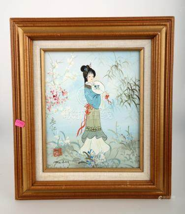 SIGNED OIL ON CANVAS ORIENTAL PAINTING.OH026.