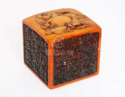 A LARGE SHOUSHAN STONES SQUARELY SIX-SIDED SEAL WITH