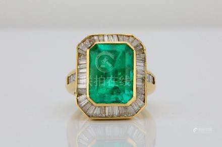 10.07ctw GIA Colombian Emerald & Diamond 18K Ring