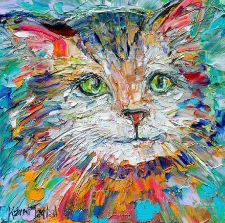 Cat painting Original oil abstract palette knife