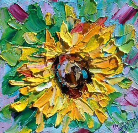 Sunflower painting original oil 6x6 palette knife