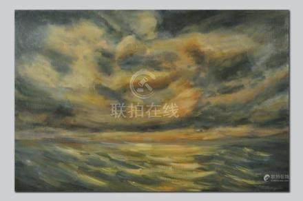 Clouds Over Sea, Original Oil Painting, Impressionist