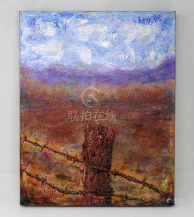 """Lonely Cedar. Original 16""""x20"""" oil painting by Charlie"""