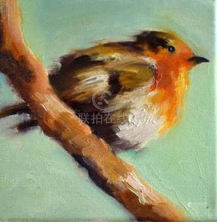 Original Bird Art, Impressionist Robin Oil Painting 6x6