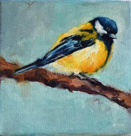 Original Painting, Great Tit Bird Portrait, Cute Bird