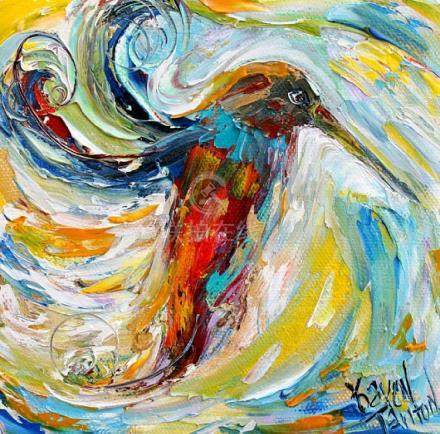 Hummingbird painting original oil 6x6 palette knife