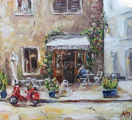 Italy Painting Cafe Painting Rome Oil Painting Italy