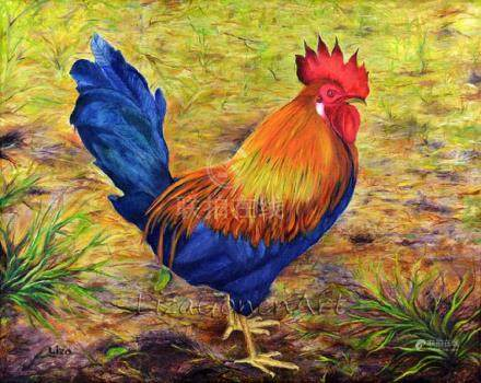 Rooster on Grass Original Painting Oil Color High