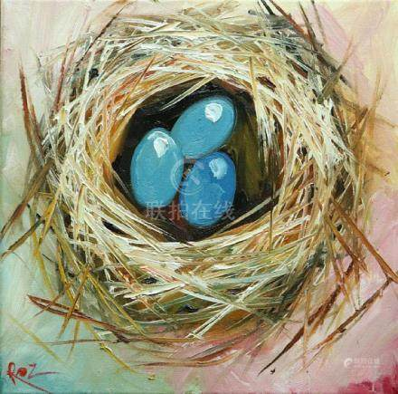 Nest painting 322 12x12 inch original bird nest