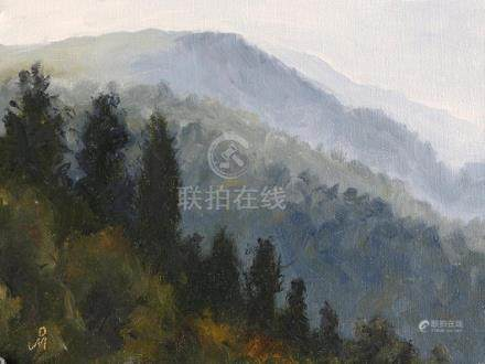 """Hills at Nainital, 6"""" x 8"""", Original Oil Painting on"""