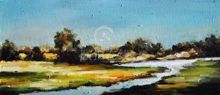 Original Impressionist Oil Painting, Panoramic