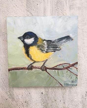 Bird Titnica oil painting- Original tit small painting-