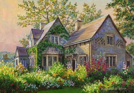 Custom house portrait, oil painting, original painting,