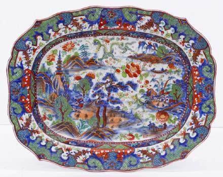 Fine Chinese Export Dragon Porcelain Platter 13''x16''.