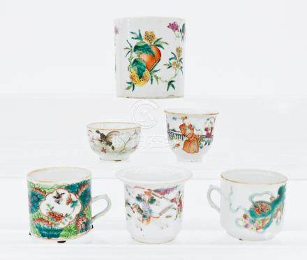 6pc Chinese Tongzhi Porcelain Tankards or Mugs. Sizes