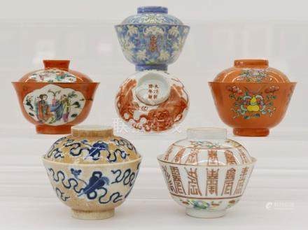 5pc Chinese Porcelain Tea Bowls with Covers 3.5''x4''