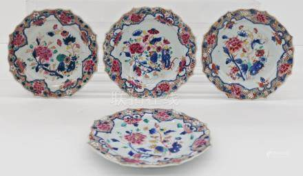 Set 4 Chinese Export Foliate Rim Porcelain Plates 9''