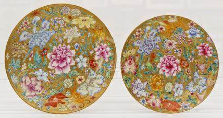 2pc Fine Chinese Millefleur Porcelain Dishes 7.5'' and