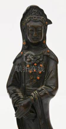 Chinese Standing Bronze Guanyin with Coral Beads