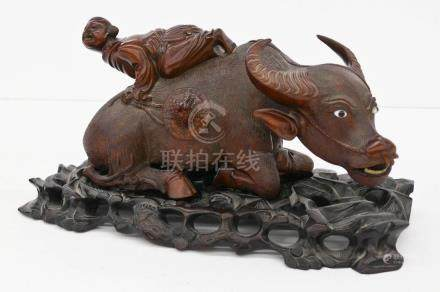 Chinese Boy Riding Ox Rosewood Figure on Stand