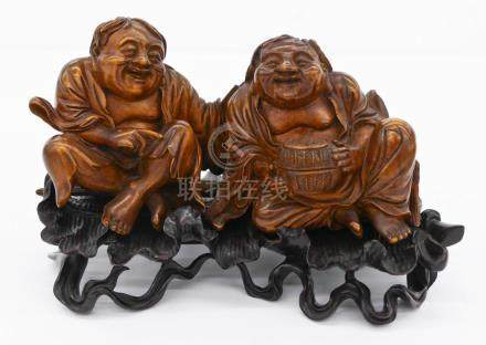 Fine Chinese Hehe Twins Boxwood Carving on Stand