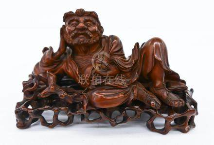 Fine Chinese Reclining Lohan Boxwood Figure on Stand