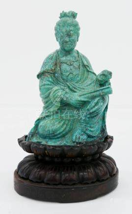 Chinese Turquoise Seated Guanyin Figure on Stand
