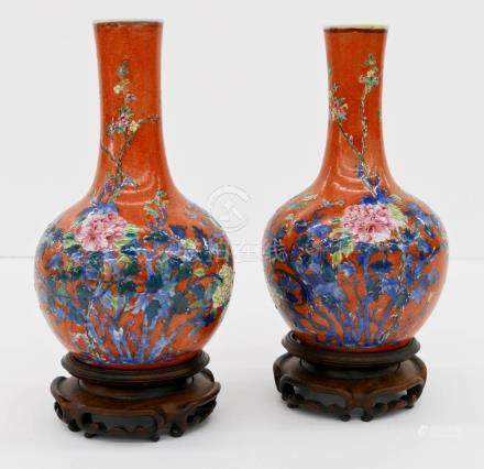 Pair Chinese Coral Ground Famille Rose Porcelain Bottle