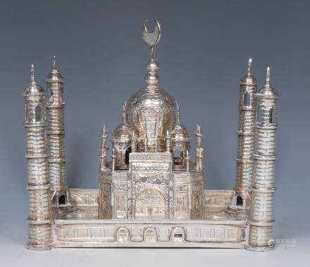 A Chinese Islamic silver model, of a mosque, 17cm wide, character mark,