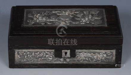 A Chinese silver mounted hardwood rectangular casket, hinged covers,