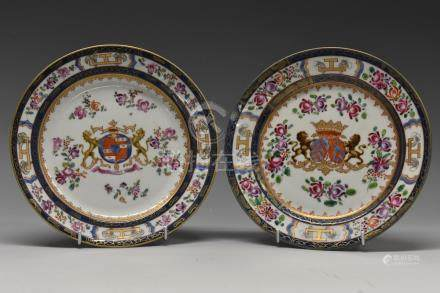 A pair of French Sampson Chinese Armorial plates,