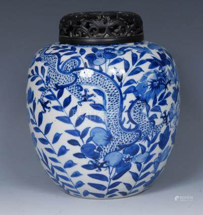 A 19th century Chinese ovoid ginger jar, decorated in underglaze blue with dragon,