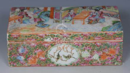 A 19th century Chinese famille rose rectangular pen box and cover,