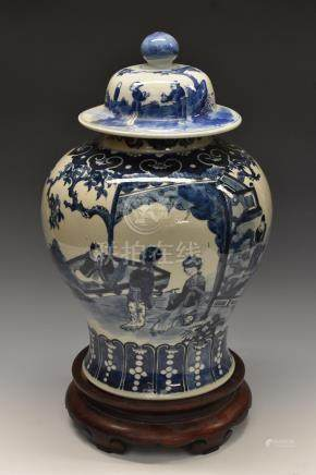 A 19th century Chinese inverted baluster ginger jar,
