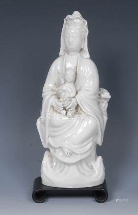 A Chinese Blanc de Chine porcelain figure, of Guanyin,