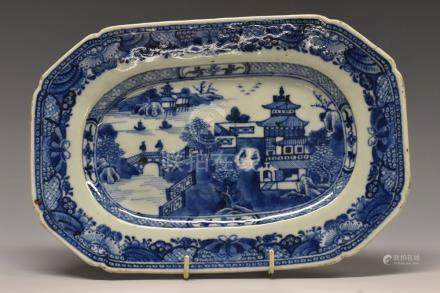 A Chinese canted rectangular meat plate,