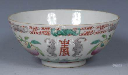 A Chinese Famille Rose bowl, decorated with peach, bats and script, 12.