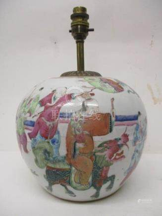 A 19th century Chinese ginger jar of bulbous form decorated with figures carrying flags and a canopy