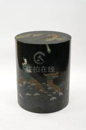 A Chinese lacquer vase stand 20th Century Of cylindrical form,
