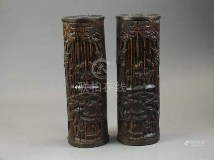 A pair of Chinese carved bamboo brush pot vases, 19th century,