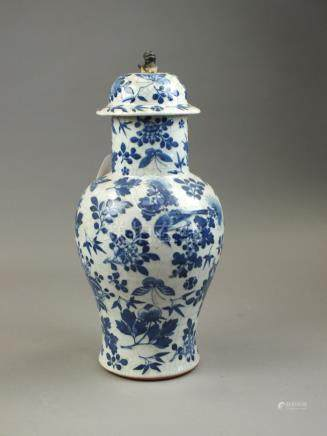 A Chinese guan type blue and white vase and cover 19th/20th Century Of baluster form,