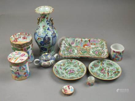 A group of Canton famille rose porcelain 19th/20th Century Including a celadon ovoid vase decorated