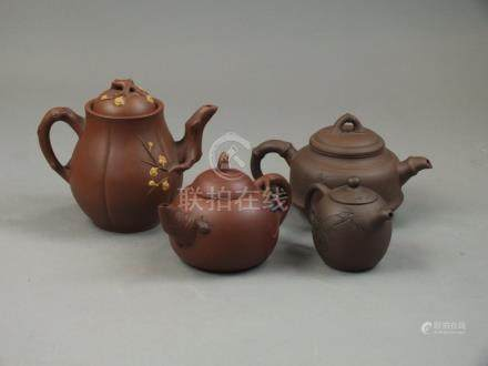 A Chinese Yixing teapot after Jiang Rong (1919-2008) 20th Century Of compressed ovoid form,