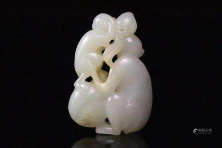 A JADE CARVING OF MONKEYS