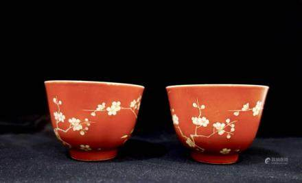 A PAIR OF CORAL-RED BOWLS, QIANLONG MARK