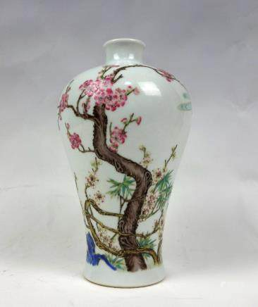 A FAMILLE ROSE 'BLOOSM' MEIPING VASE, QIANLONG